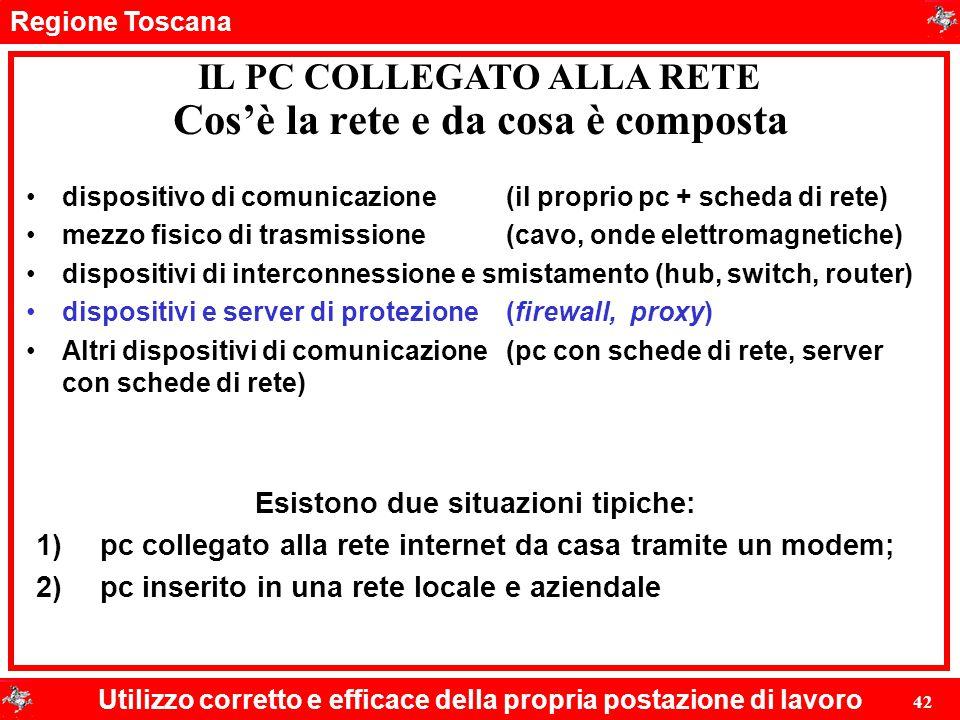 Regione Toscana Utilizzo corretto e efficace della propria postazione di lavoro 42 Cos'è la rete e da cosa è composta dispositivo di comunicazione(il