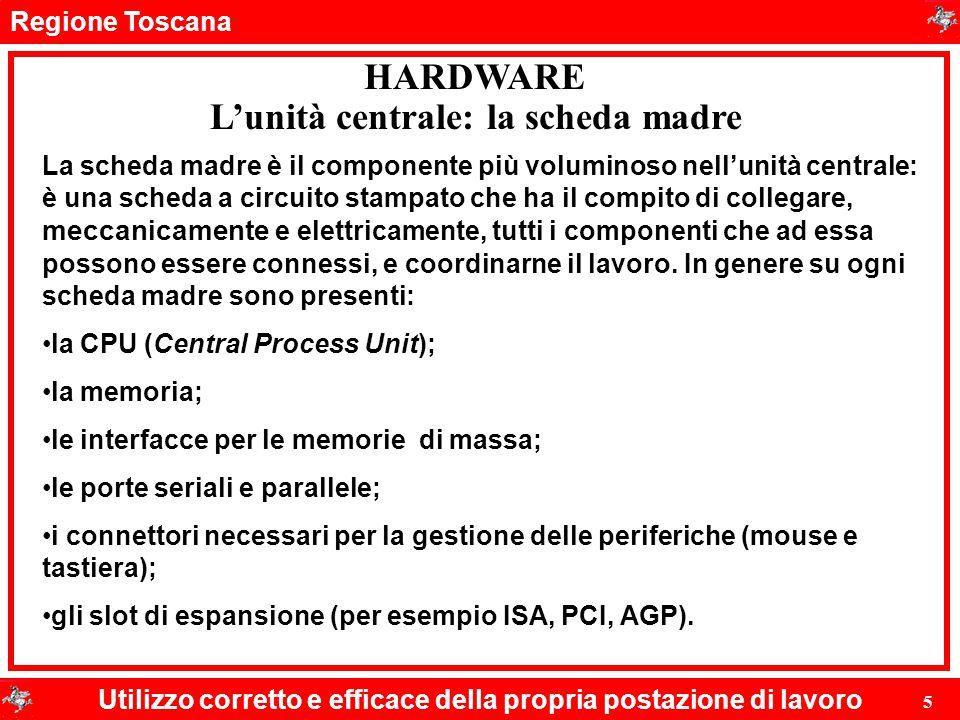 Regione Toscana Utilizzo corretto e efficace della propria postazione di lavoro 5 HARDWARE L'unità centrale: la scheda madre La scheda madre è il comp