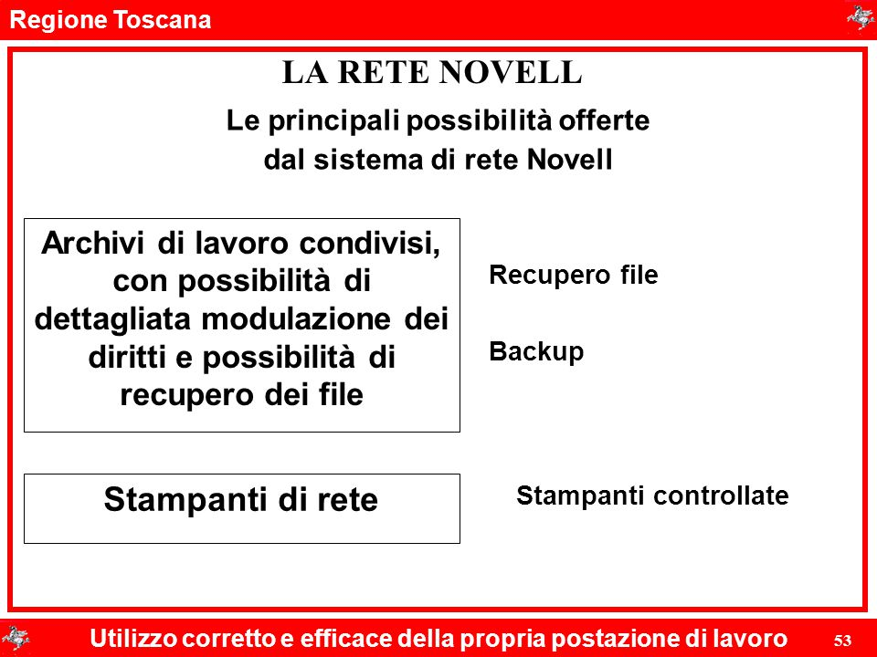 Regione Toscana Utilizzo corretto e efficace della propria postazione di lavoro 53 LA RETE NOVELL Le principali possibilità offerte dal sistema di ret