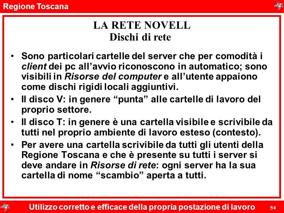 Regione Toscana Utilizzo corretto e efficace della propria postazione di lavoro 54 LA RETE NOVELL Sono particolari cartelle del server che per comodit