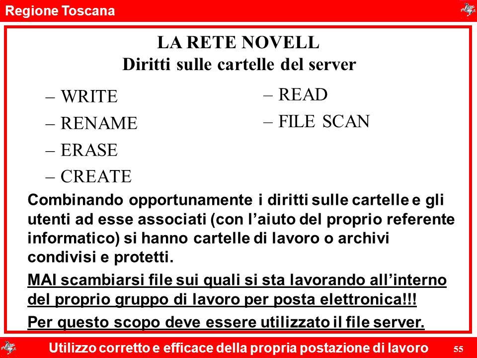 Regione Toscana Utilizzo corretto e efficace della propria postazione di lavoro 55 Diritti sulle cartelle del server –WRITE –RENAME –ERASE –CREATE –RE
