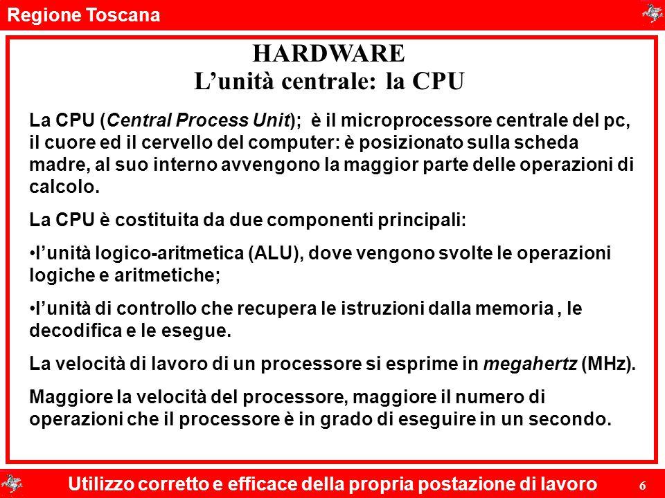 Regione Toscana Utilizzo corretto e efficace della propria postazione di lavoro 6 HARDWARE L'unità centrale: la CPU La CPU (Central Process Unit); è i