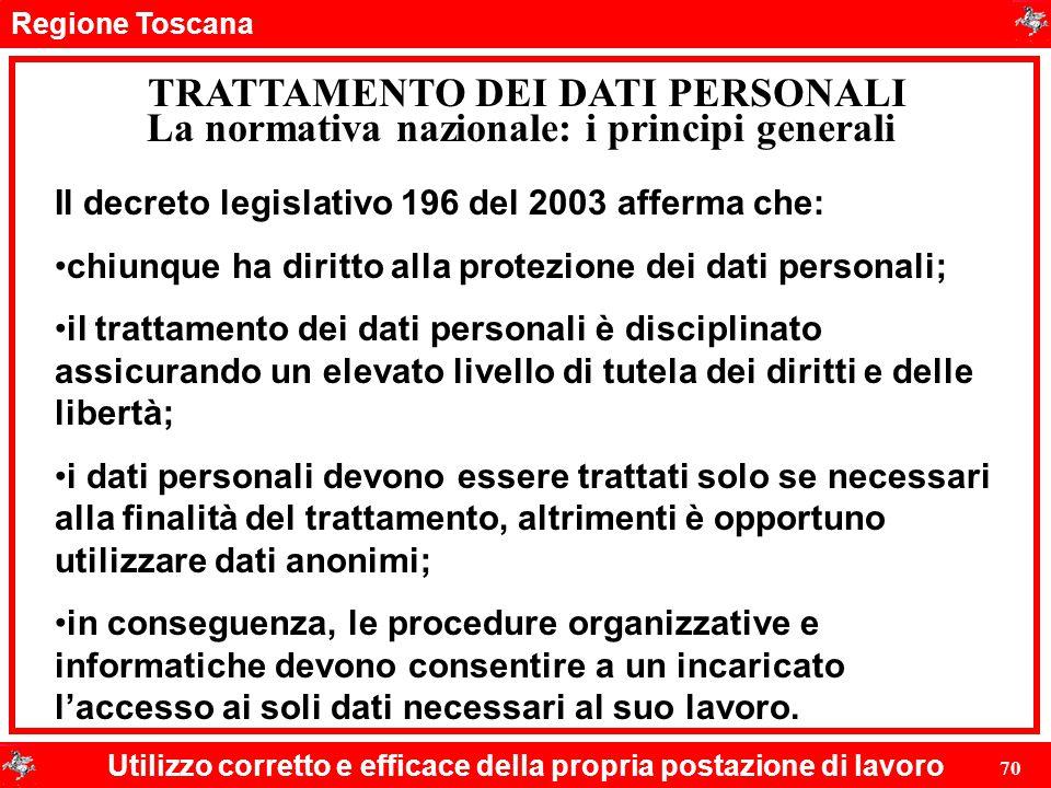 Regione Toscana Utilizzo corretto e efficace della propria postazione di lavoro 70 TRATTAMENTO DEI DATI PERSONALI Il decreto legislativo 196 del 2003