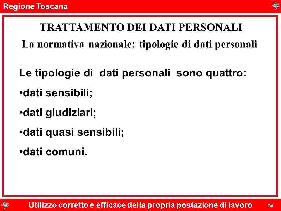 Regione Toscana Utilizzo corretto e efficace della propria postazione di lavoro 74 TRATTAMENTO DEI DATI PERSONALI Le tipologie di dati personali sono