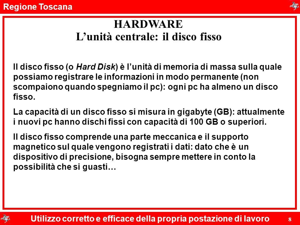 Regione Toscana Utilizzo corretto e efficace della propria postazione di lavoro 8 HARDWARE L'unità centrale: il disco fisso Il disco fisso (o Hard Dis