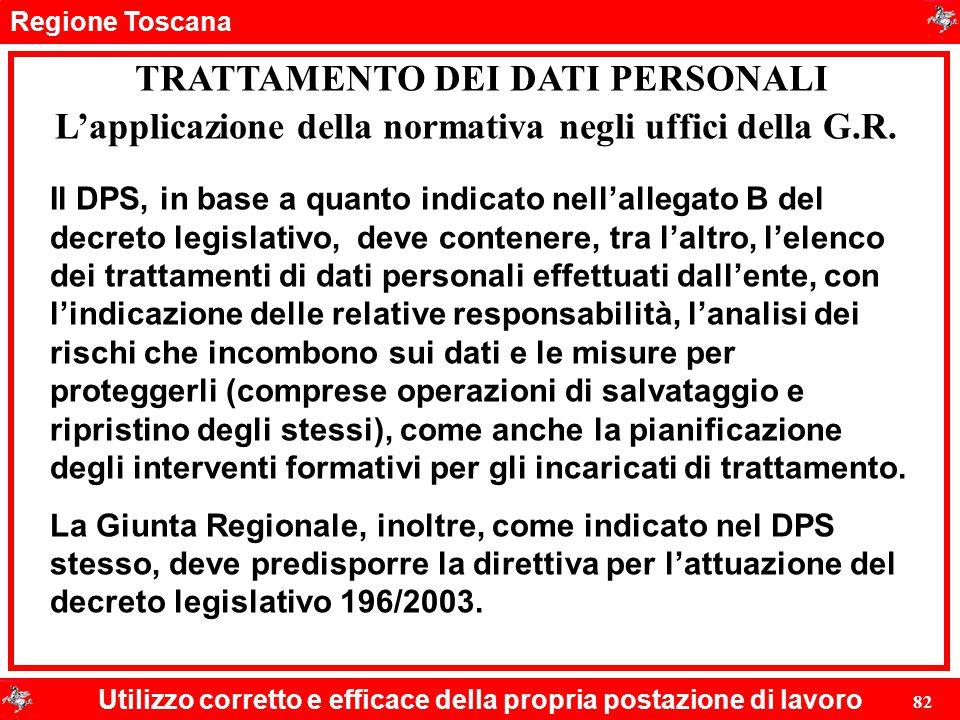 Regione Toscana Utilizzo corretto e efficace della propria postazione di lavoro 82 TRATTAMENTO DEI DATI PERSONALI Il DPS, in base a quanto indicato ne