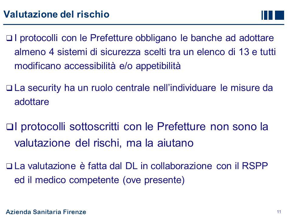 Azienda Sanitaria Firenze 11 Valutazione del rischio  I protocolli con le Prefetture obbligano le banche ad adottare almeno 4 sistemi di sicurezza sc