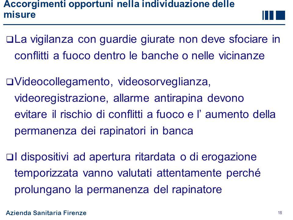 Azienda Sanitaria Firenze 18 Accorgimenti opportuni nella individuazione delle misure  La vigilanza con guardie giurate non deve sfociare in conflitt