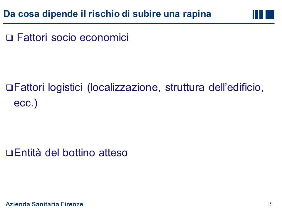Azienda Sanitaria Firenze 5 Da cosa dipende il rischio di subire una rapina  Fattori socio economici  Fattori logistici (localizzazione, struttura d