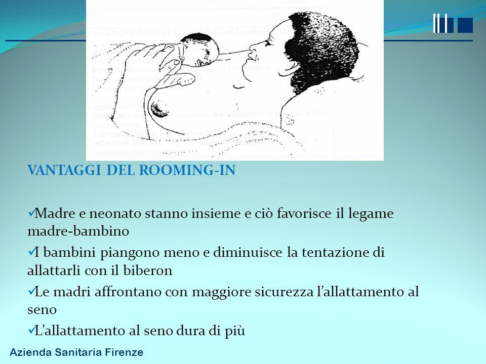 VANTAGGI DEL ROOMING-IN Madre e neonato stanno insieme e ciò favorisce il legame madre-bambino I bambini piangono meno e diminuisce la tentazione di a