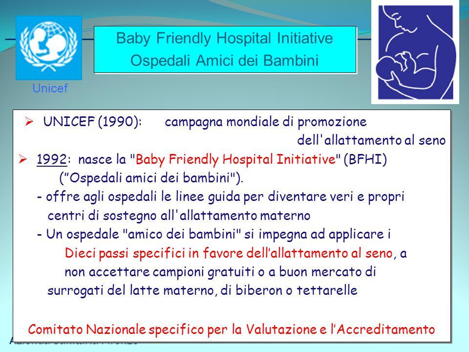 Azienda Sanitaria Firenze  UNICEF (1990): campagna mondiale di promozione dell'allattamento al seno  1992: nasce la