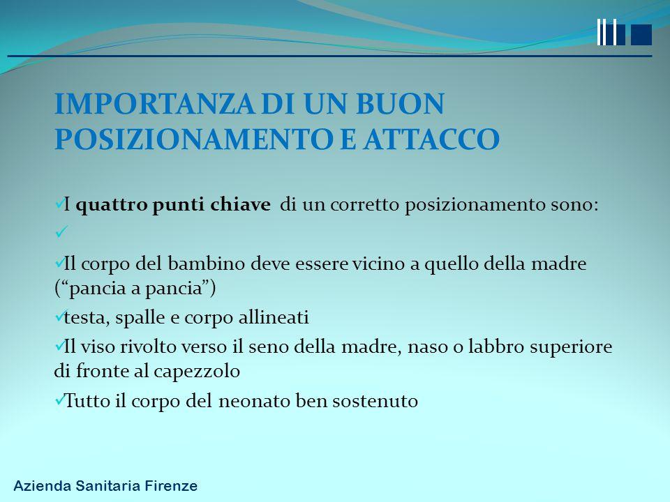 Azienda Sanitaria Firenze IMPORTANZA DI UN BUON POSIZIONAMENTO E ATTACCO I quattro punti chiave di un corretto posizionamento sono: Il corpo del bambi