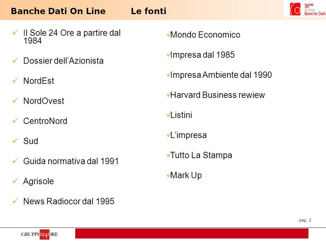 pag. 3 Banche Dati On LineLe fonti Il Sole 24 Ore a partire dal 1984 Dossier dell'Azionista NordEst NordOvest CentroNord Sud Guida normativa dal 1991