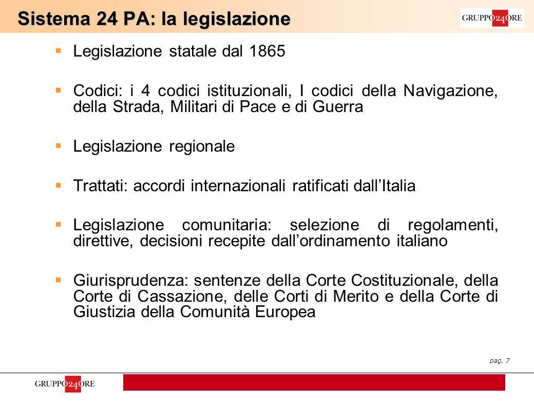 pag. 7 Sistema 24 PA: la legislazione  Legislazione statale dal 1865  Codici: i 4 codici istituzionali, I codici della Navigazione, della Strada, Mi