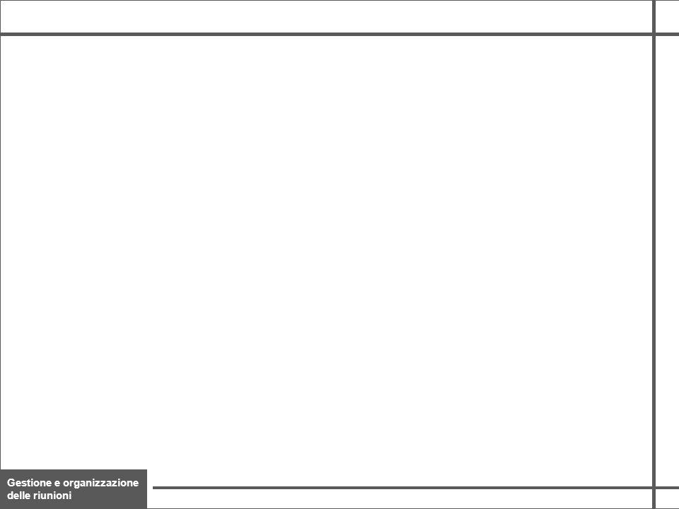 Gestione e organizzazione delle riunioni 22 A ferro di cavallo Frontale Circolare, in 2 varianti In ordine sparso La disposizione (setting) può essere: Aspetti logistici