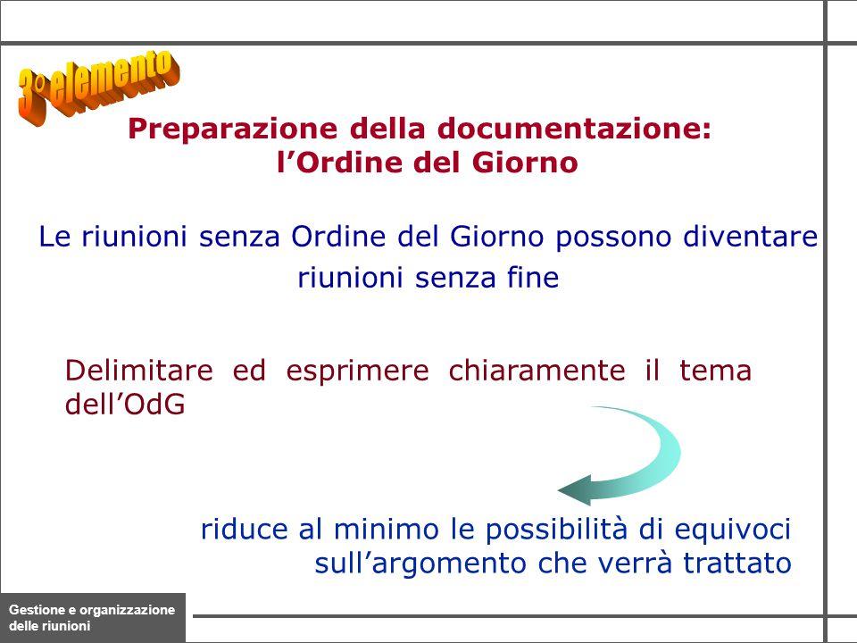 Gestione e organizzazione delle riunioni 12 Delimitare ed esprimere chiaramente il tema dell'OdG riduce al minimo le possibilità di equivoci sull'argo
