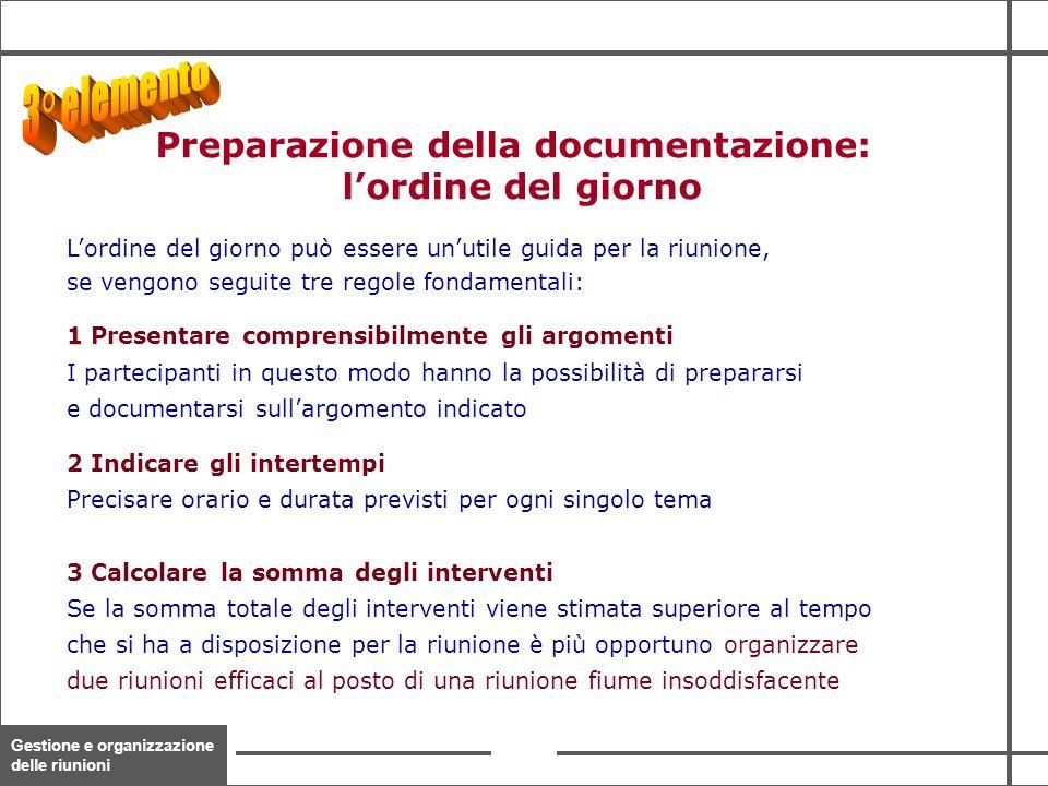 Gestione e organizzazione delle riunioni 13 Preparazione della documentazione: l'ordine del giorno L'ordine del giorno può essere un'utile guida per l