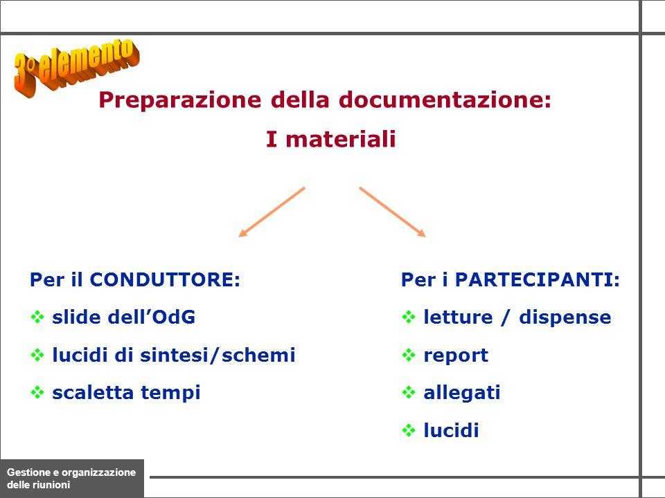 Gestione e organizzazione delle riunioni 17 Per il CONDUTTORE: v slide dell'OdG v lucidi di sintesi/schemi v scaletta tempi Per i PARTECIPANTI: v lett