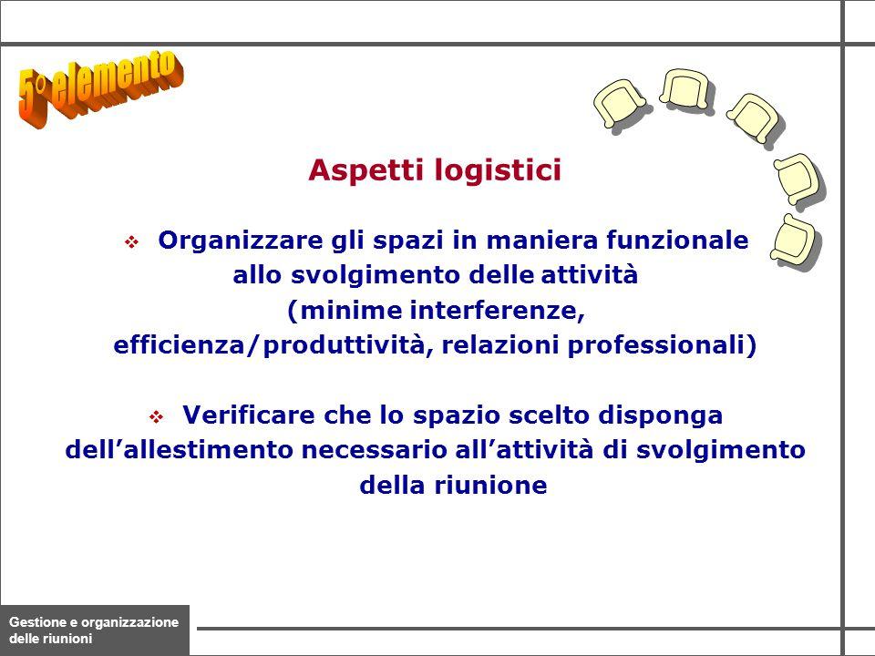 Gestione e organizzazione delle riunioni 20  Organizzare gli spazi in maniera funzionale allo svolgimento delle attività (minime interferenze, effici