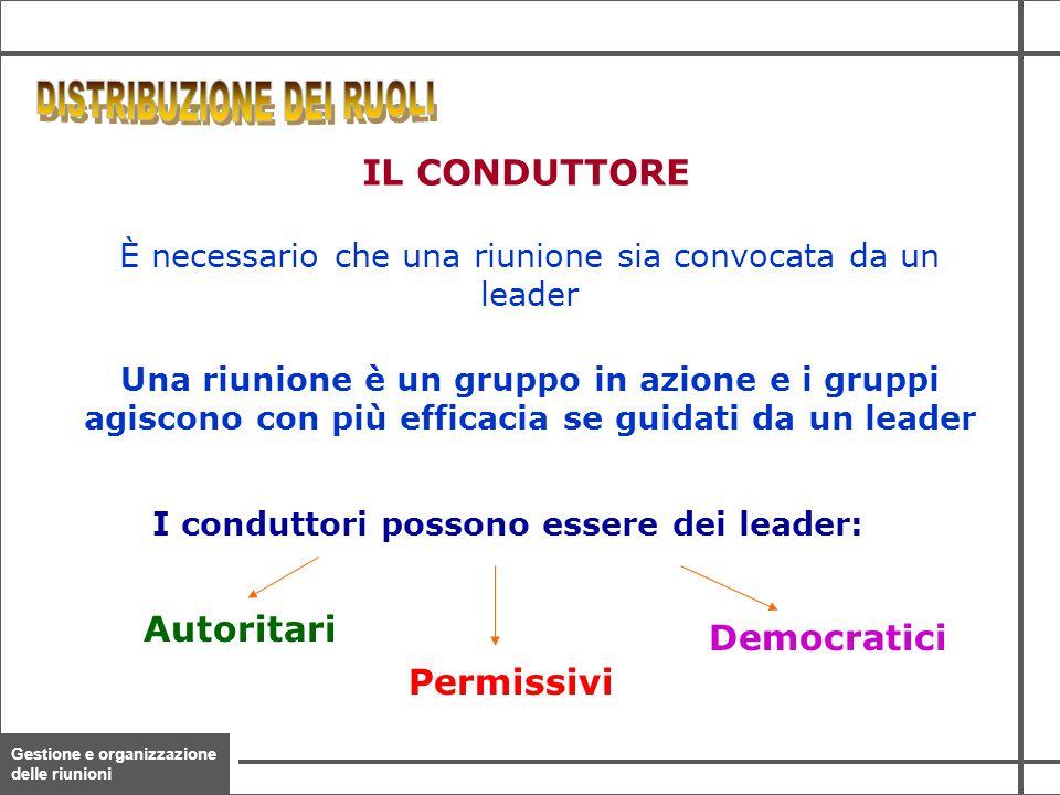 Gestione e organizzazione delle riunioni 26 È necessario che una riunione sia convocata da un leader Una riunione è un gruppo in azione e i gruppi agi