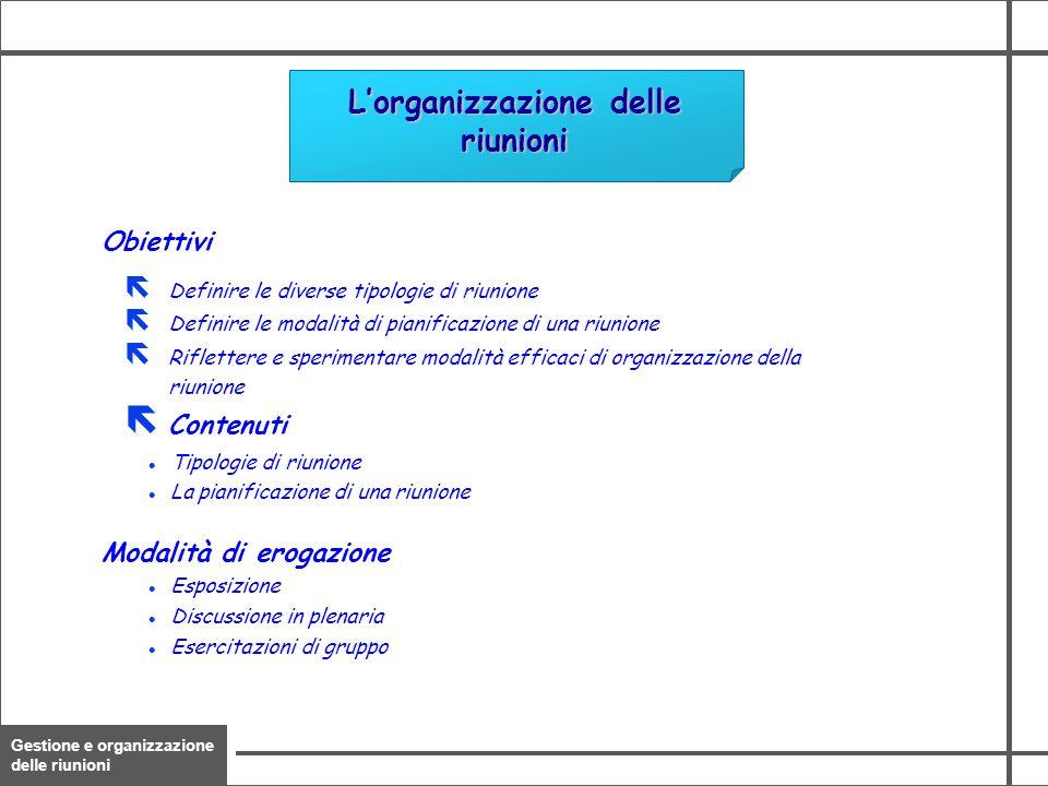 Gestione e organizzazione delle riunioni 3 Obiettivi Modalità di erogazione L'organizzazione delle riunioni ë Definire le diverse tipologie di riunion