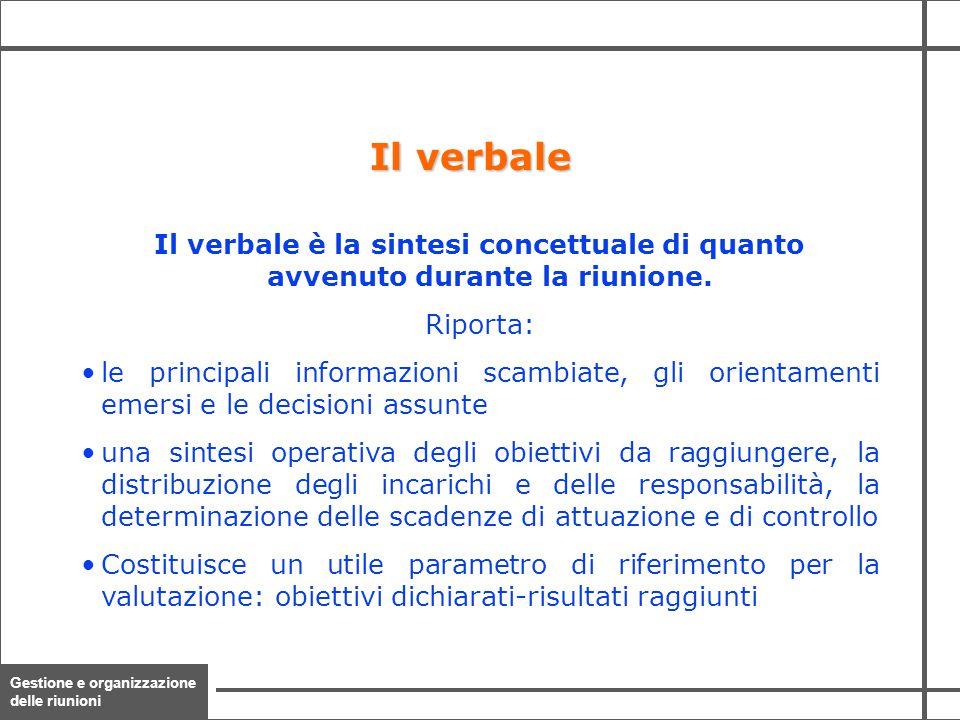 Gestione e organizzazione delle riunioni 31 Il verbale è la sintesi concettuale di quanto avvenuto durante la riunione. Riporta: le principali informa