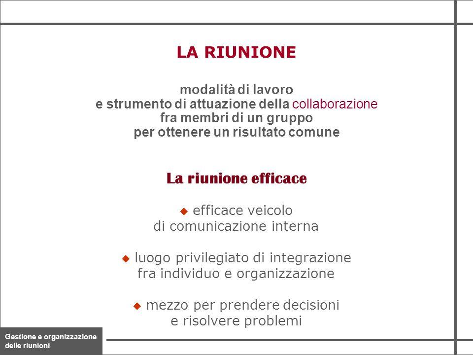 Gestione e organizzazione delle riunioni 5 modalità di lavoro e strumento di attuazione della collaborazione fra membri di un gruppo per ottenere un r