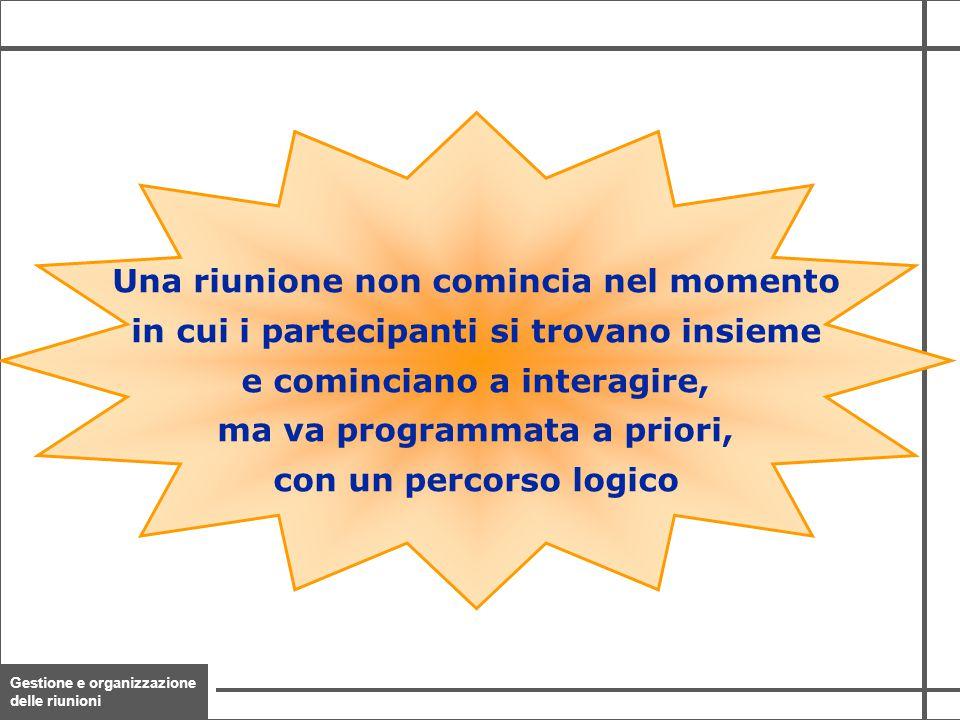 Gestione e organizzazione delle riunioni 8 Una riunione non comincia nel momento in cui i partecipanti si trovano insieme e cominciano a interagire, m