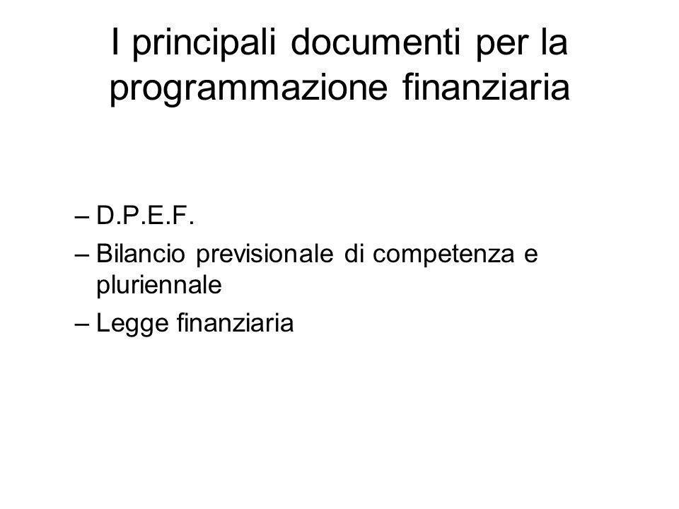 I principali documenti per la programmazione finanziaria –D.P.E.F.
