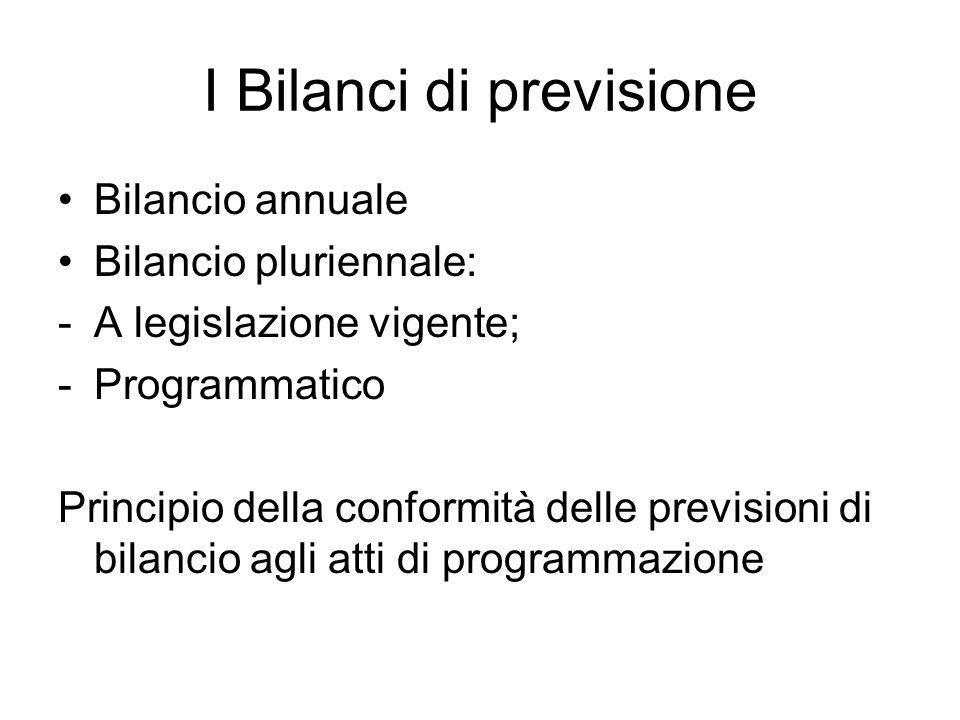 I Bilanci di previsione Bilancio annuale Bilancio pluriennale: -A legislazione vigente; -Programmatico Principio della conformità delle previsioni di bilancio agli atti di programmazione