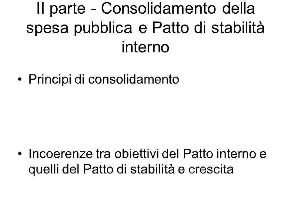 II parte - Consolidamento della spesa pubblica e Patto di stabilità interno Principi di consolidamento Incoerenze tra obiettivi del Patto interno e quelli del Patto di stabilità e crescita