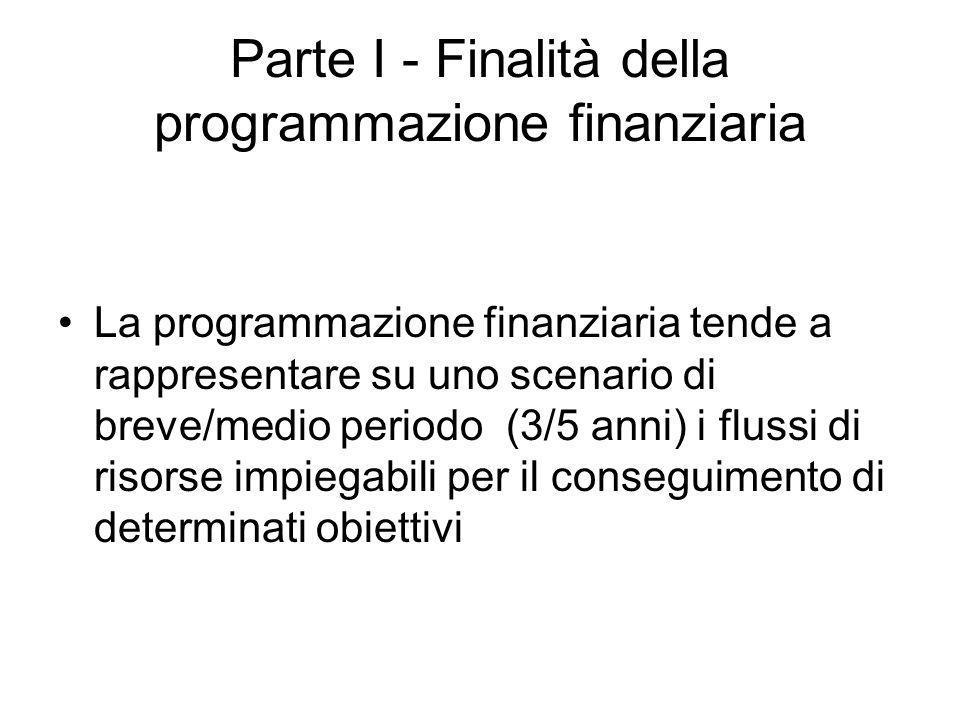 Parte I - Finalità della programmazione finanziaria La programmazione finanziaria tende a rappresentare su uno scenario di breve/medio periodo (3/5 anni) i flussi di risorse impiegabili per il conseguimento di determinati obiettivi