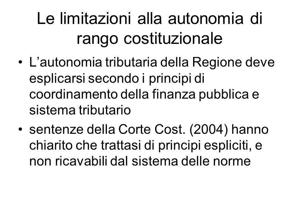 Le limitazioni alla autonomia di rango costituzionale L'autonomia tributaria della Regione deve esplicarsi secondo i principi di coordinamento della finanza pubblica e sistema tributario sentenze della Corte Cost.