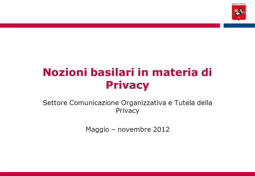 Nozioni basilari in materia di Privacy Settore Comunicazione Organizzativa e Tutela della Privacy Maggio – novembre 2012