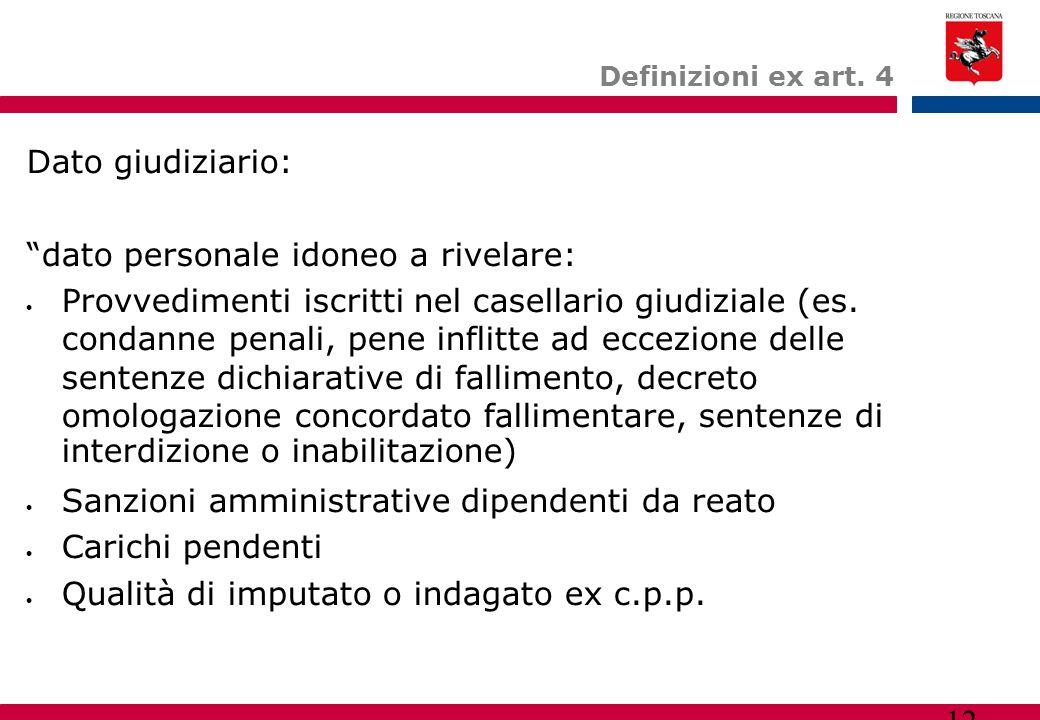 """12 Definizioni ex art. 4 Dato giudiziario: """"dato personale idoneo a rivelare:  Provvedimenti iscritti nel casellario giudiziale (es. condanne penali,"""