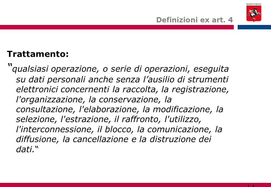 """14 Definizioni ex art. 4 Trattamento: """" qualsiasi operazione, o serie di operazioni, eseguita su dati personali anche senza l'ausilio di strumenti ele"""