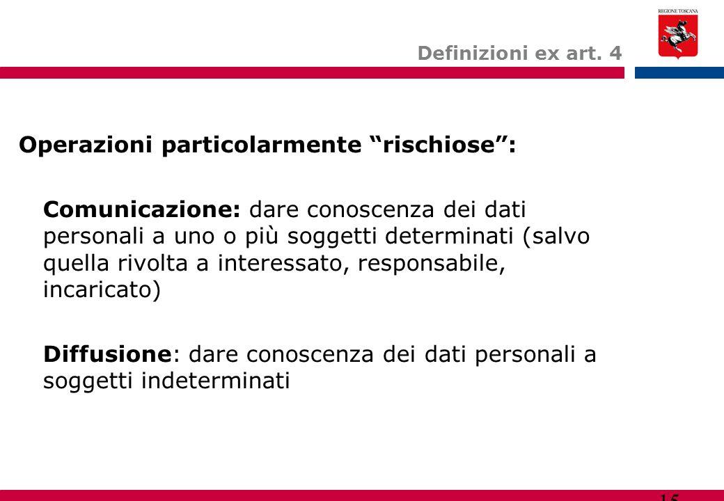 """15 Definizioni ex art. 4 Operazioni particolarmente """"rischiose"""": Comunicazione: dare conoscenza dei dati personali a uno o più soggetti determinati (s"""