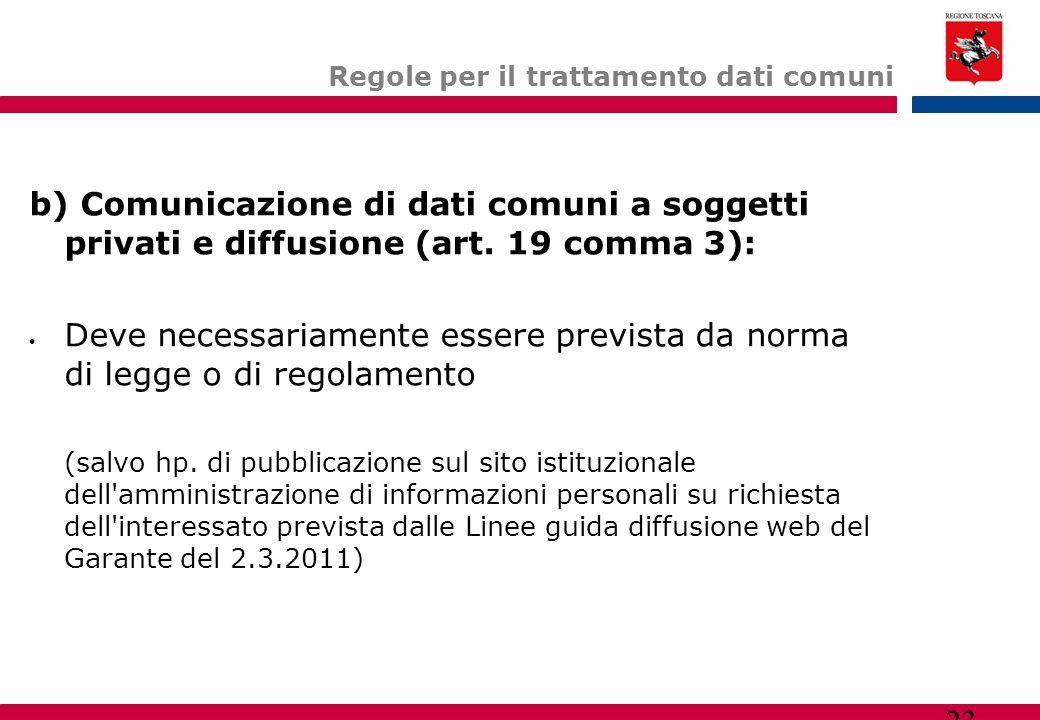 23 Regole per il trattamento dati comuni b) Comunicazione di dati comuni a soggetti privati e diffusione (art. 19 comma 3):  Deve necessariamente ess
