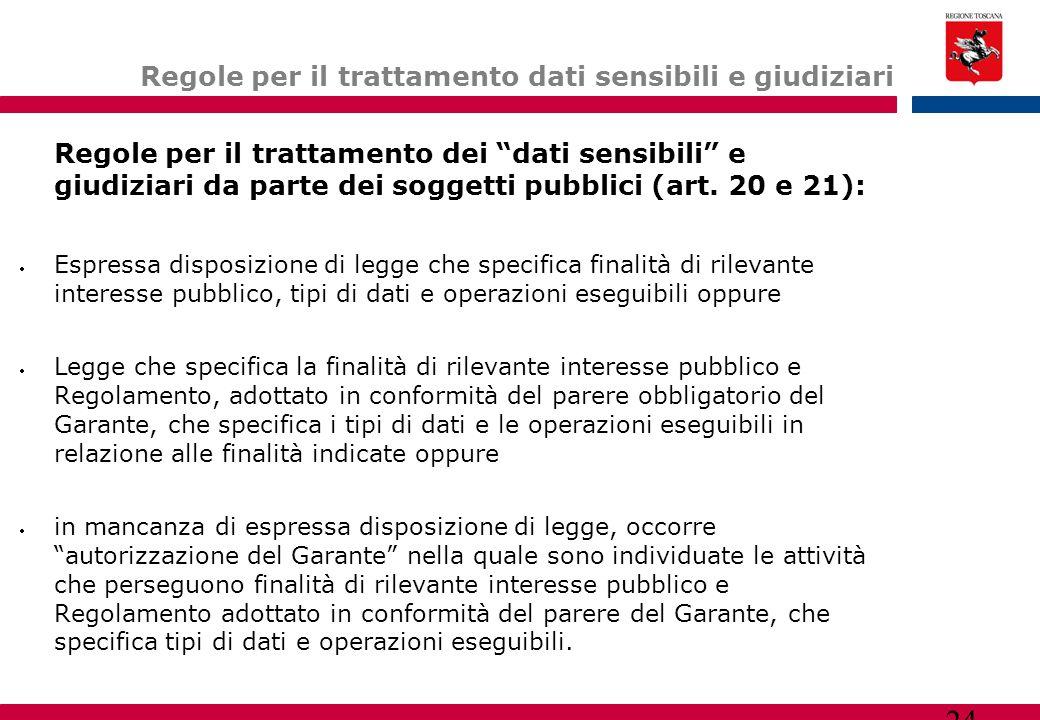 """24 Regole per il trattamento dati sensibili e giudiziari Regole per il trattamento dei """"dati sensibili"""" e giudiziari da parte dei soggetti pubblici (a"""