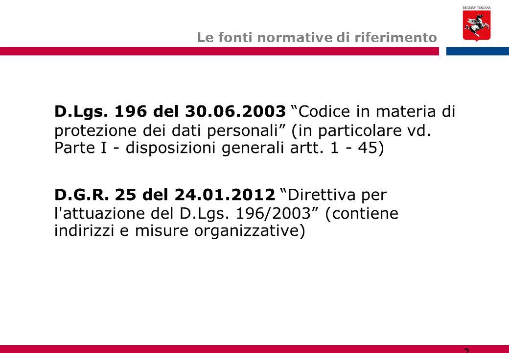 """3 Le fonti normative di riferimento D.Lgs. 196 del 30.06.2003 """"Codice in materia di protezione dei dati personali"""" (in particolare vd. Parte I - dispo"""