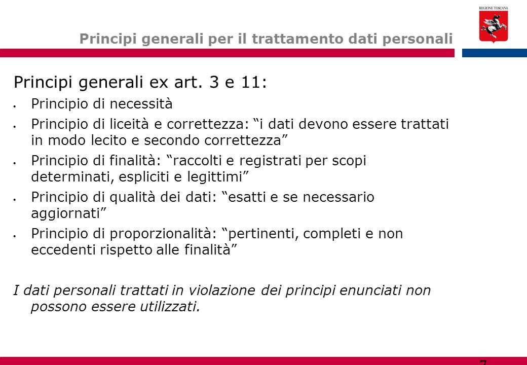 7 Principi generali per il trattamento dati personali Principi generali ex art. 3 e 11:  Principio di necessità  Principio di liceità e correttezza: