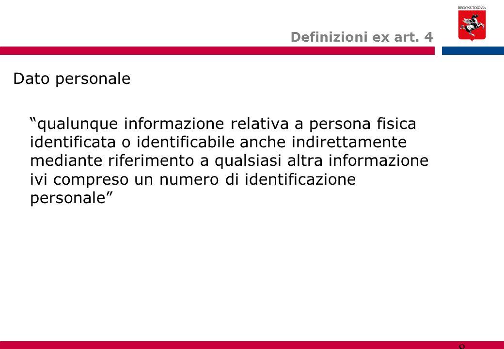 """8 Definizioni ex art. 4 Dato personale """"qualunque informazione relativa a persona fisica identificata o identificabile anche indirettamente mediante r"""