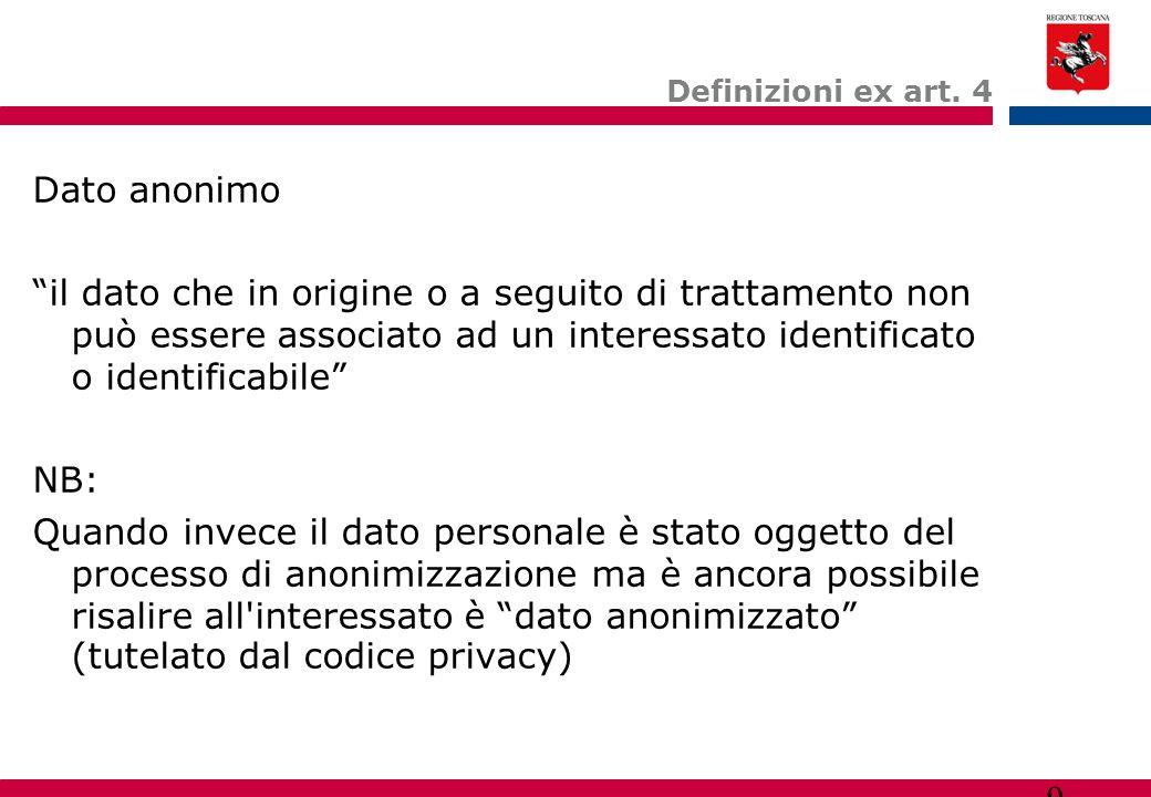 """9 Definizioni ex art. 4 Dato anonimo """"il dato che in origine o a seguito di trattamento non può essere associato ad un interessato identificato o iden"""