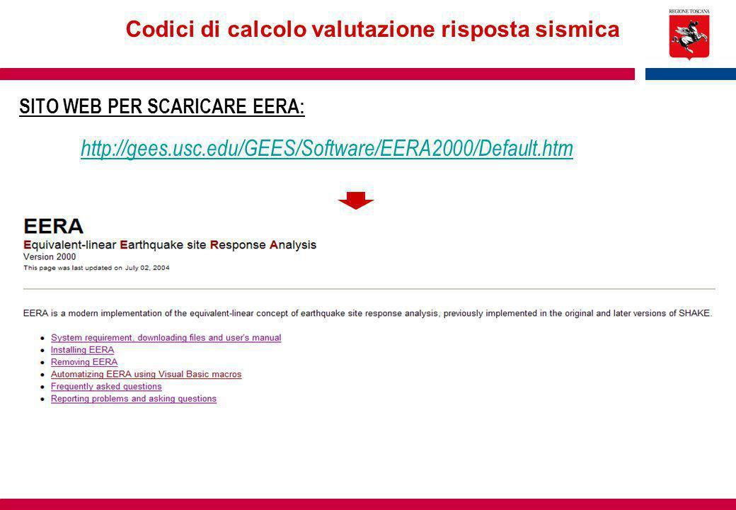 Codici di calcolo valutazione risposta sismica SITO WEB PER SCARICARE EERA: http://gees.usc.edu/GEES/Software/EERA2000/Default.htm