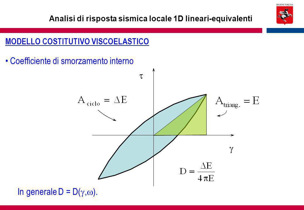 Analisi di risposta sismica locale 1D lineari-equivalenti Coefficiente di smorzamento interno   In generale D = D( ,  ). MODELLO COSTITUTIVO VISCO
