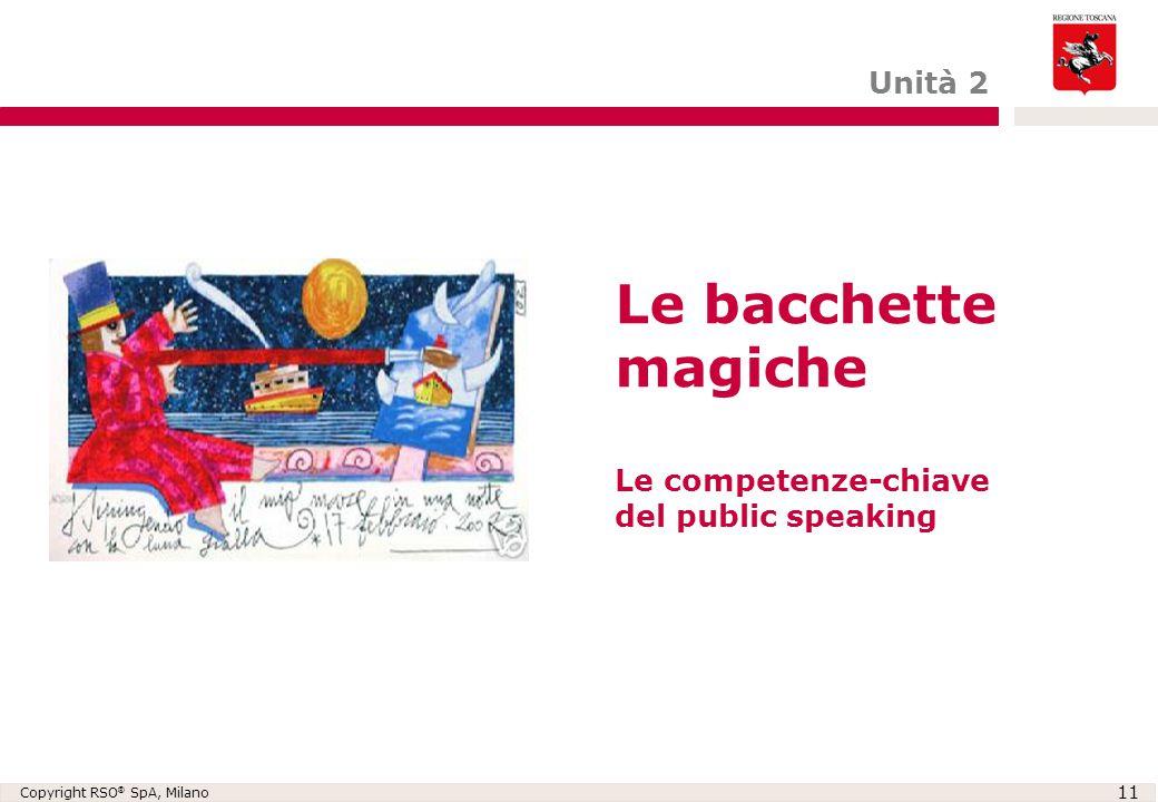 Copyright RSO ® SpA, Milano 11 Le bacchette magiche Le competenze-chiave del public speaking Unità 2