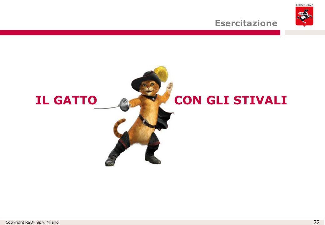 Copyright RSO ® SpA, Milano 22 Esercitazione IL GATTO CON GLI STIVALI
