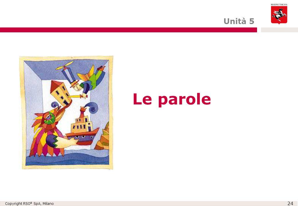 Copyright RSO ® SpA, Milano 24 Le parole Unità 5