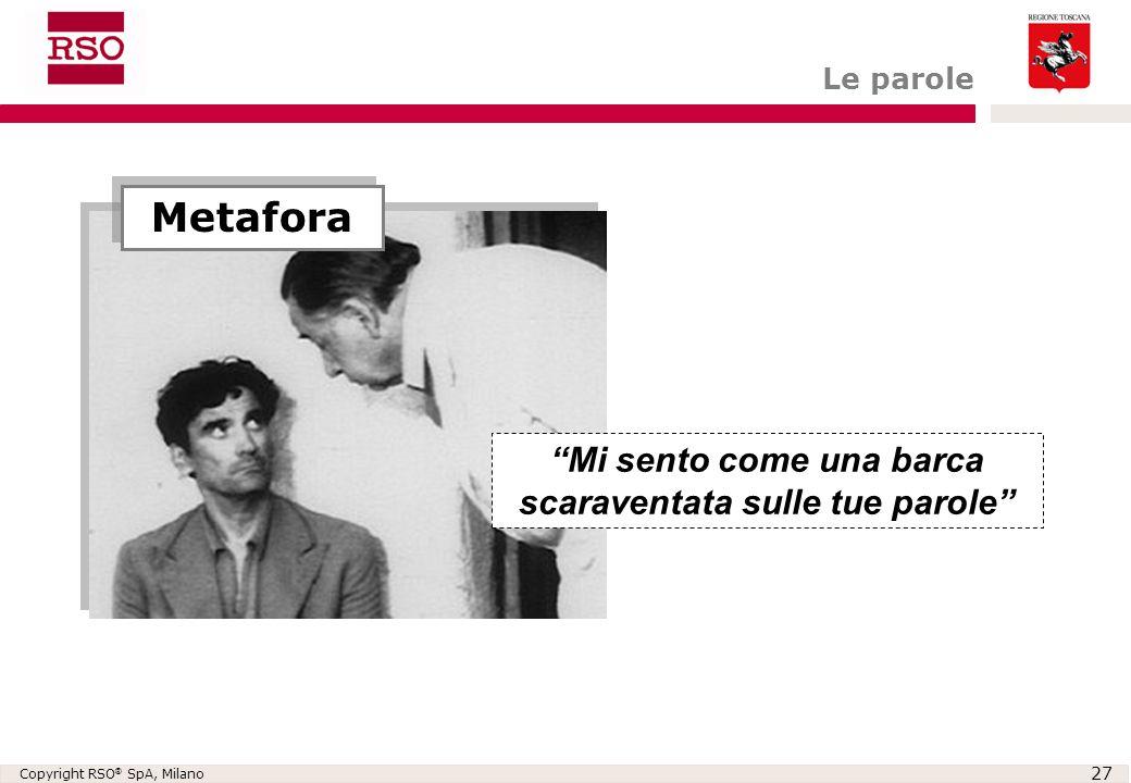 """Copyright RSO ® SpA, Milano 27 Metafora """"Mi sento come una barca scaraventata sulle tue parole"""" Le parole"""