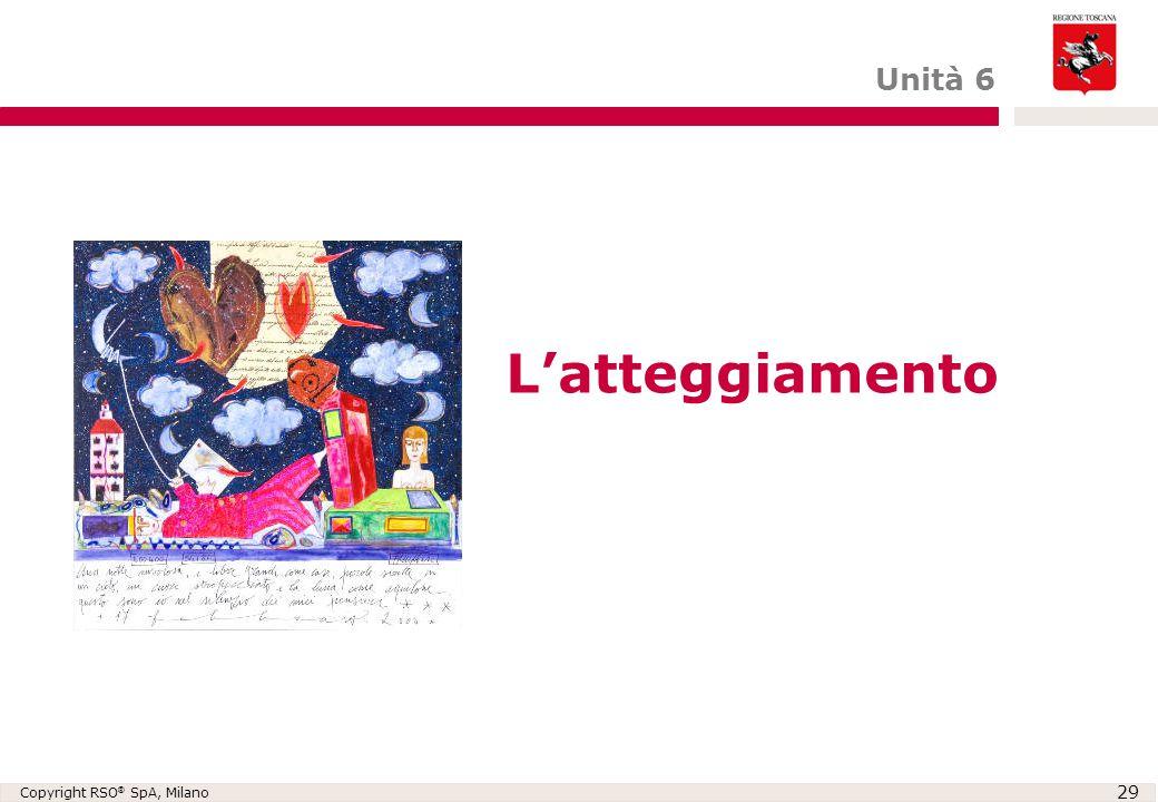 Copyright RSO ® SpA, Milano 29 L'atteggiamento Unità 6